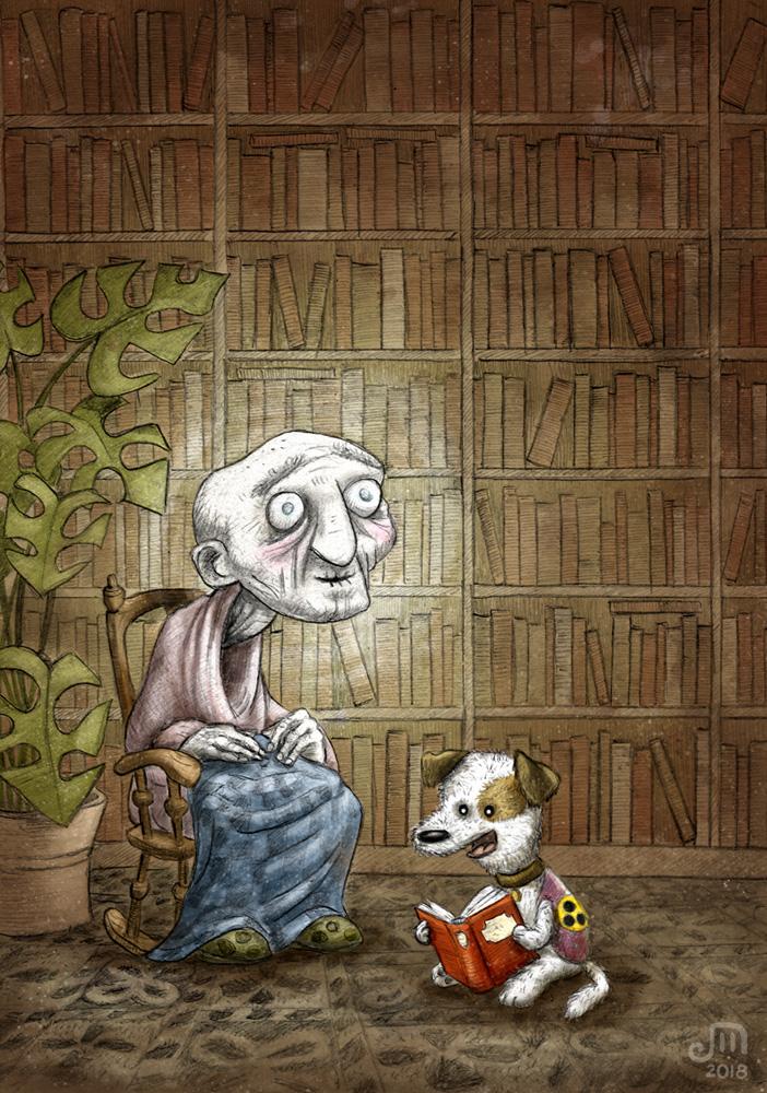 Blindenhund liest blindem Greis aus einem Buch vor. Illustration mit Wasserfarbe von Josephine Mark / Puvo production / Leipzig