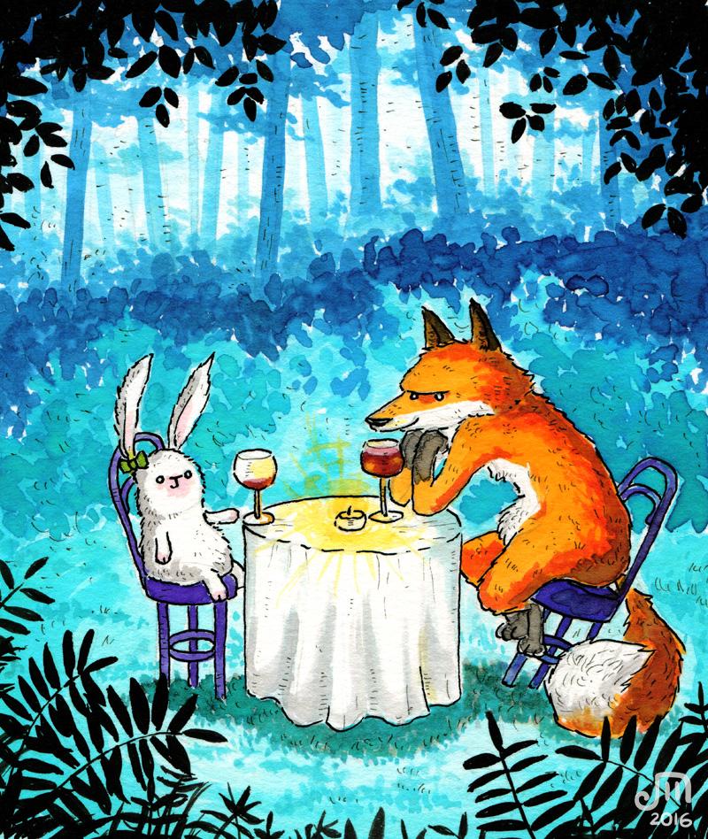 Hase und Fuchs bei einem nächtlichen romantischen Dinner. Illustration mit Wasserfarbe von Josephine Mark / Puvo production / Leipzig