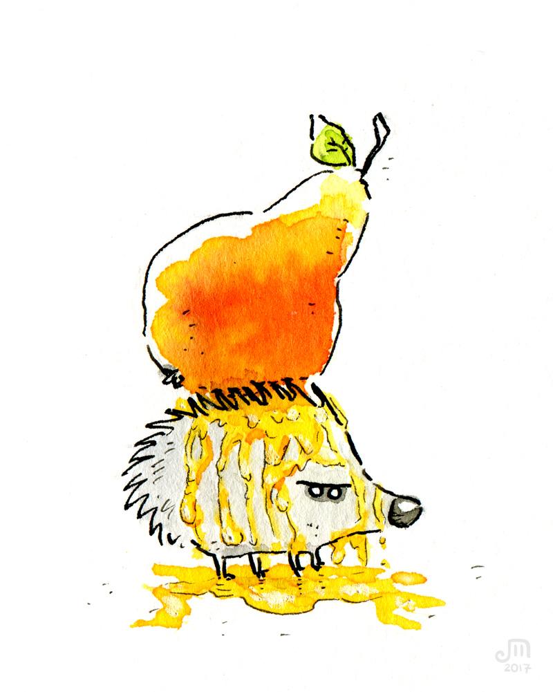 Die Birnen sind in diesem Jahr besonders saftig, wie der kleine Igel feststellen muss... Illustration mit Wasserfarbe von Josephine Mark / Puvo production / Leipzig