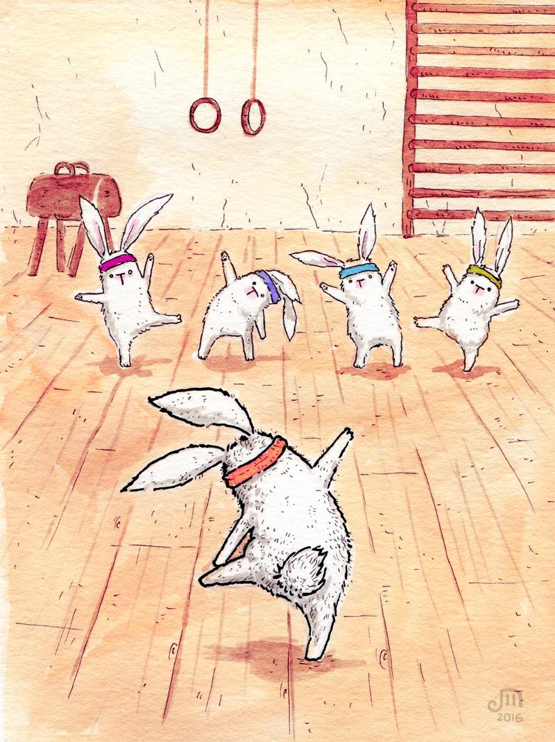Kaninchen beim Turnen. Beim Sport ist vor allem die Koordination schwierig.... Illustration mit Wasserfarbe von Josephine Mark / Puvo production / Leipzig