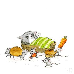Die Katze ist krank, die Mäuse räumen derweil die Küche leer... Illustration mit Wasserfarbe von Josephine Mark / Puvo production / Leipzig