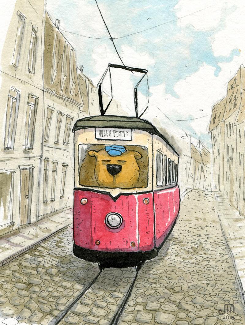 Ein dicker Bär fährt eine historische Straßenbahn. Illustration mit Wasserfarbe von Josephine Mark / Puvo production / Leipzig